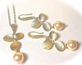 Destination wedding jewelry ~ Bridal jewelry - Pearl necklace and earring set - Pearls and orchids - Gold filled - High quality ~ Gift