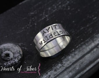 Stackable Rings 4mm with Outside Stamping ONLY- Sterling Silver- Personalized Rings- Hand Stamped Rings