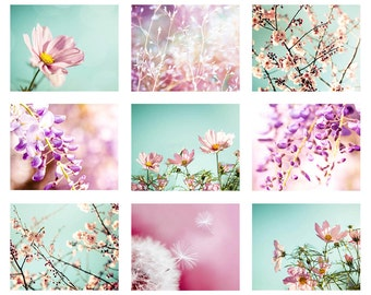 flower prints set floral print botanical print set of 9 prints gallery wall flower photography decor fine art photography pink aqua pastel