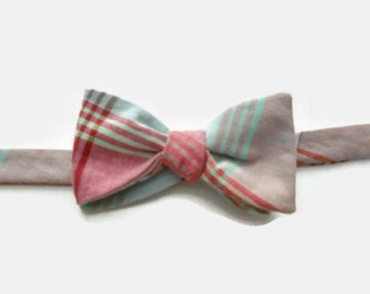 Soft Red and Green Plaid Cotton Bow Tie Self Tie Adjustable Recycled Men's Shirt
