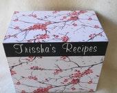 Recipe Box - Japanese Tree Wooden Recipe Box - Keepsake Box -  Personalized - Shower Gift