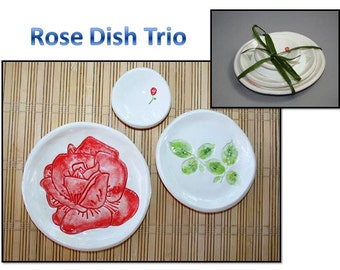 Oriental Dish Trio: Red Rose, Rose Leaves, Red Rose Bud dish set. Sushi, tea set, ring dishes, themed dishes.
