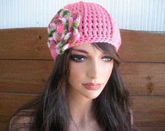 Womens Hat Crochet Hat Winter Fashion Accessories Women Beanie Hat Cloche  Hat in Pink with Multicolor Crochet Flower