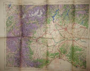1941 Torino Turin Italy Italian Pilot Chart Map