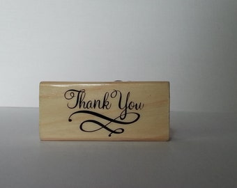 Thank You Wooden Mounted Rubber Stamping Block DIY for Showers, Invitations, Greeting Cards, and Scrapbooking