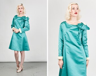Vintage 1960s Satin Dress with Rabbit Fur Cuffs