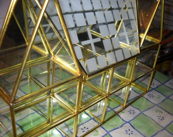 Brass & Glass House Curio, 10 X 8 inch Miniatures Display Cabinet With Mirrored Back