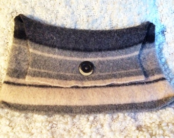 Gray and black felted wool clutch