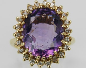 Diamond and Amethyst Halo Ring 14k Yellow Gold Solitaire Ring Size 9.75