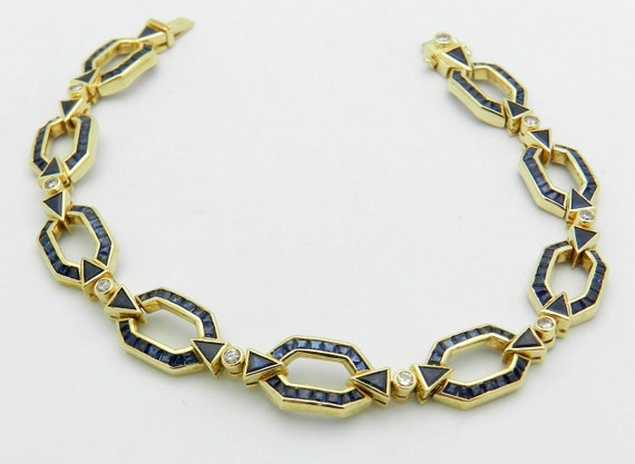 Sapphire Tennis Bracelet 18K Yellow Gold 4.25 carat Diamond Princess Cut Blue