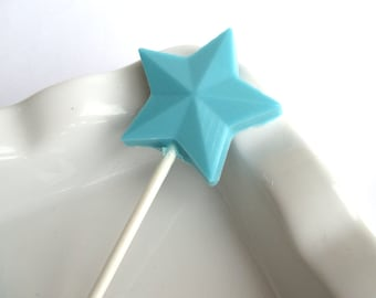 12 Star lollipops, Baby shower favors, birthday party favors, Frozen theme, Gender reveal shower favor, chocolate lollipop, candy favor