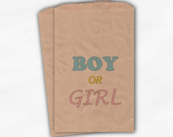 Gender Reveal Party Candy Favor Bags - Boy or Girl Custom Kraft Paper Treat Bags for Baby Shower - 25 Paper Bags (0003)