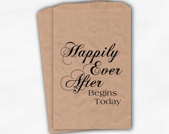 Kraft Paper Wedding Favor Bags for Candy Buffet - Happily Ever After Customized Treat Bags for Wedding, Shower (0005)