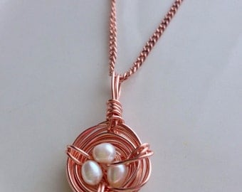 Nest Pendant Pearl Necklace Copper Wire Wrapped Freshwater Pearls