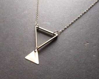 Triangle Necklace, Triangles Necklace, Faking It Necklace, Arrow Necklace, Triangles, Boho Jewelry Christmas Gift 2016 for her for him