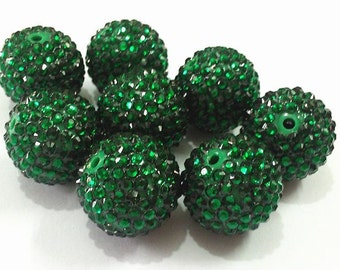 24mm, 5CT. AB Christmas Green Rhinestone Ball Chunky Beads, glitter beads, G4