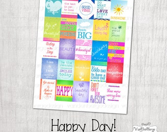 Printable Planner Calendar Stickers -Happy Day!