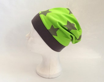 Stars Boy Beanie, Size 5Y - 12Y, Neon Green, Jersey Boys Hat, slouch beanie, Farbenmix
