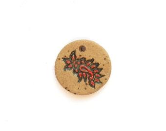 Red  Paisley  Round Pendant Handmade Stoneware  Ceramic