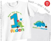 Happy Dinosaur Birthday Shirt -- Personalized with child's age and name - Front & Back Birthday Shirt