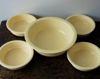 Vintage Original Ivory Fiestaware, Homer Laughlin Nappie Bowls Set Of 5
