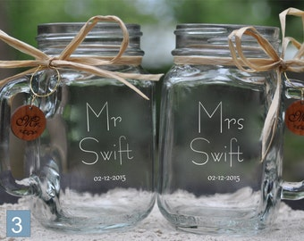 Mr and Mrs Contemporary Wedding Jars with wood charms.  Choose your font and Handle Directions