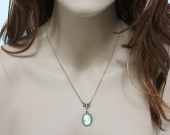 Green Cameo Necklace, Victorian Gold Vintage Style Romantic Jewelry, Oxidized Brass