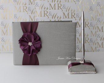 wedding guest book/ sign in book and pen set
