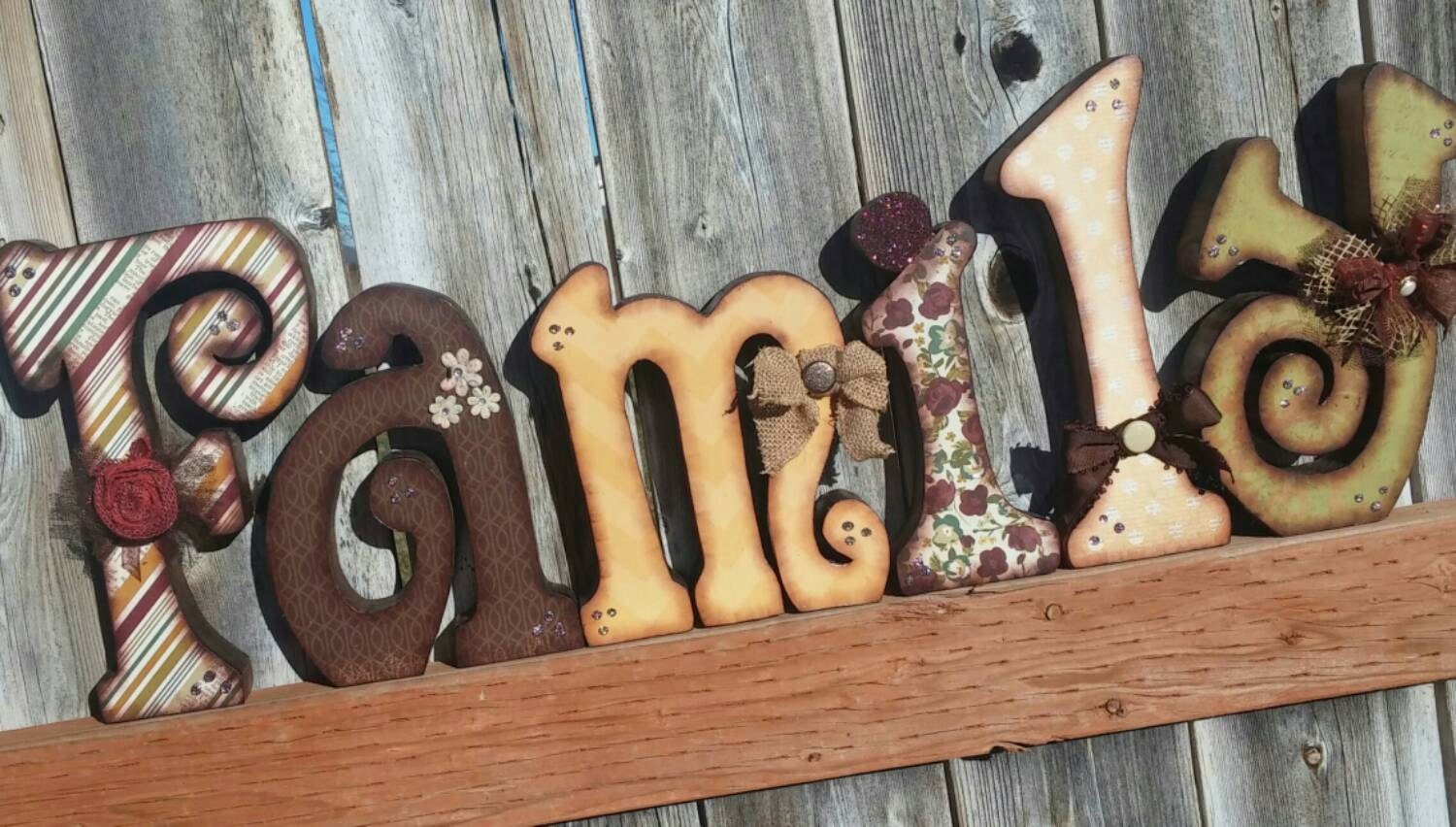 beautiful family wooden letters decorated with many beautiful With family wood letters
