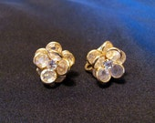 Crystal Clip Earrings with  Gold Tone Trim and Rhinestone Center