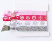 Hair Ties, Set of 4, Snowflake Sparkle Pink Red Mix, blizzard 2015