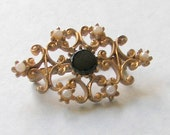 VINTAGE 1960's pin Black and Pearl, Scrollwork Golden Brooch, Filigreed  Gold Pin