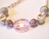 Pink and Silver Large Bead Necklace Chunky Jewelry Bauble Necklace, Prom Necklace, Spring Jewelry