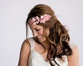 Blush boho flower crown, bridal halo, velvet pink floral crown, blooms on gold wire, bohemian headpiece
