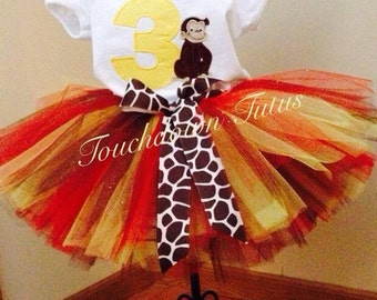 Curious George birthday tutu outfit - Pick your number