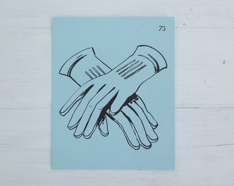 vintage french flash card - gloves