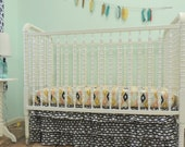 Bumperless Crib Bedding in Navy, Peach, Mint, and Gold with an Aztec Theme