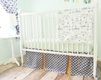CLEARANCE! Bumperless Aztec Crib Bedding in Navy Blue, Gold, and Mint