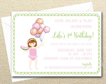 Watermelon Summer Birthday Party Digital Invitations