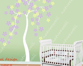 Cherry blossom wall decal tree decal baby nursery kids white flower  room decor nature girl wall decor wall art-Cherry Blossom Tree