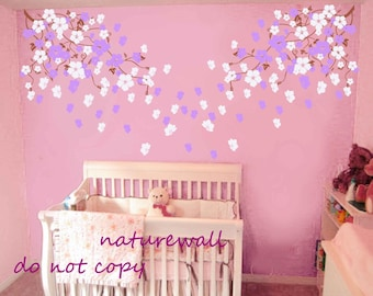 Nursery wall decals wall stickers blossom vines  decals kids wall decals baby nursery decals  pink white girl wall art- Cherry Blossom vines