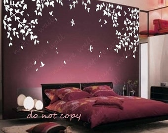 Branch wall decals wall stickers  Kids wall art baby decal nursery decal room decor wall decor wall art -tree branch with birds
