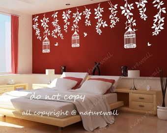 Nature wall Decals tree decals tree with birds white decalBedroom decals kids wall art baby nursery decals-tree with birds abd birds cages