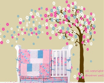 Baby Nursery decals Cherry blossom wall decal  tree decal baby  kids room decor nature girl wall decor wall art- Trailing Cherry Blossom