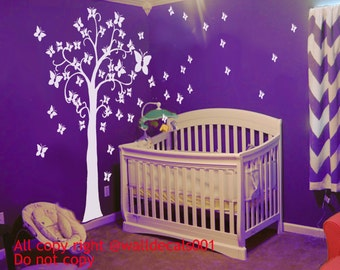 Kids wall decals star Tree decal nursery decal wall murals graphic wall art-lovely stars tree