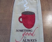 Coffee Cup Hanging  Kitchen Towel
