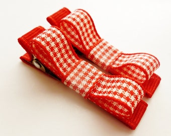 mini red and white houndstooth hair bows--small 2 inch holiday accessories for infant baby girls