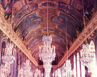 Chandelier Photography, Pink Chandelier Wall Art Large, Romantic Paris Chanderlier Versaille, Chandelier Canvas
