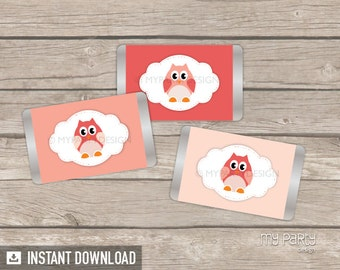 Owl Mini Chocolate Wrappers - Owl Girl Baby Shower Party - INSTANT DOWNLOAD - Printable PDF