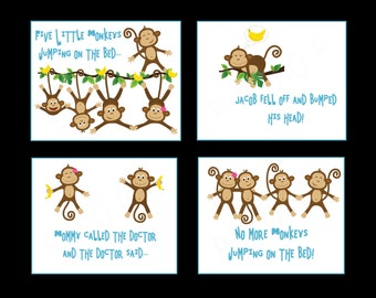 No More Monkeys Jumping on the Bed Art - Bananas Wall Print Collection - 4 8x10 Print Collection - Personalized Monkey Artwork - Jungle Art